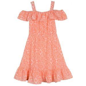 Pastourelle Girl's Printed Off-The-Shoulder Dress